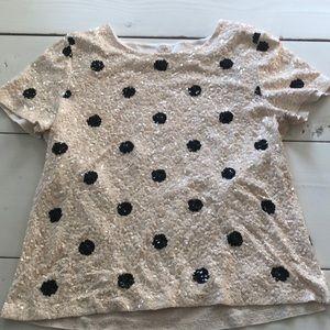 JCrew sequined polka dot top